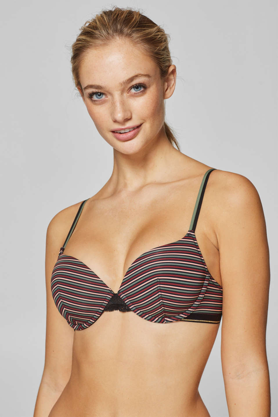 edc - Padded underwire bra with stripes and lace