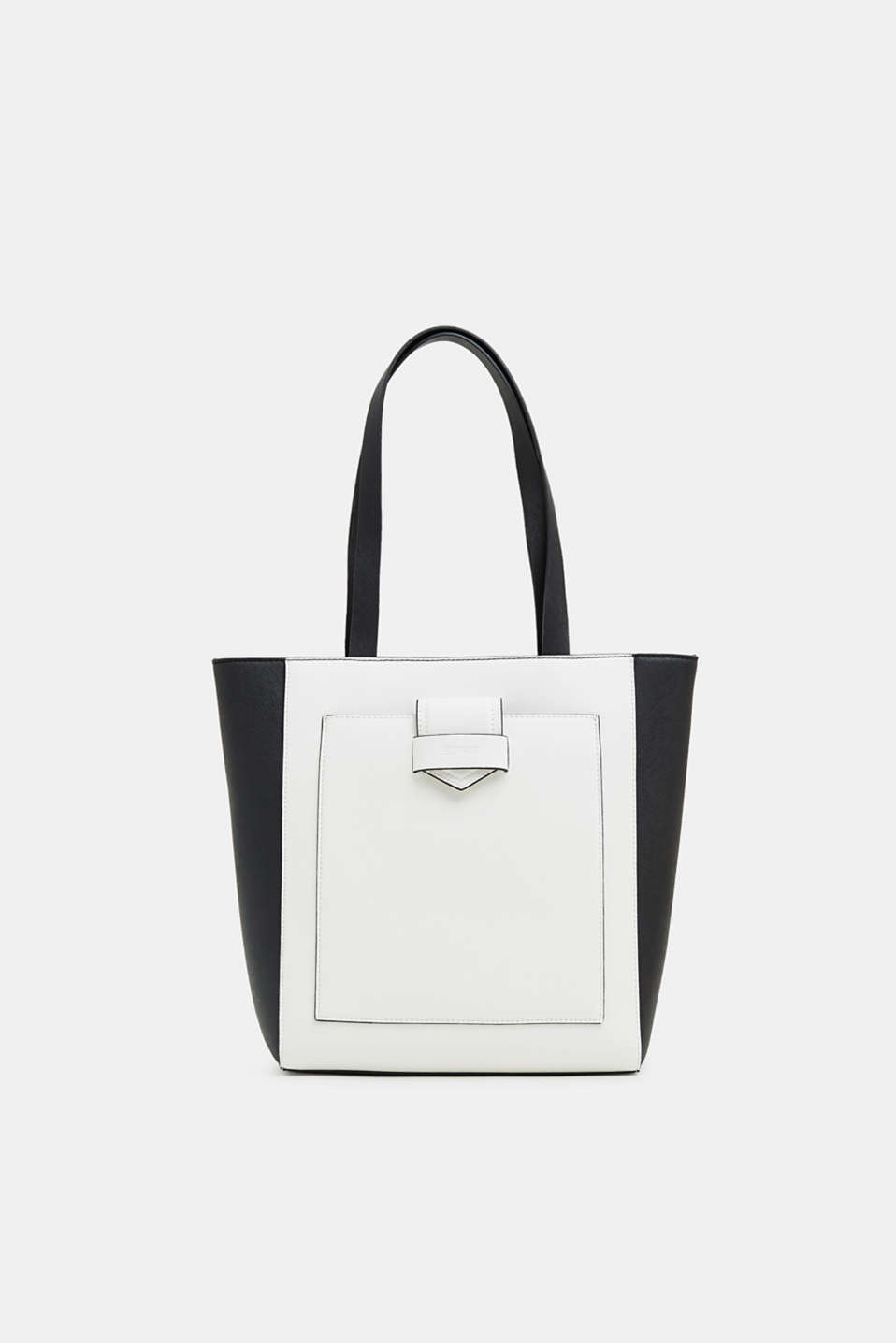 Esprit - Shopper in zwart-witte saffiano-look