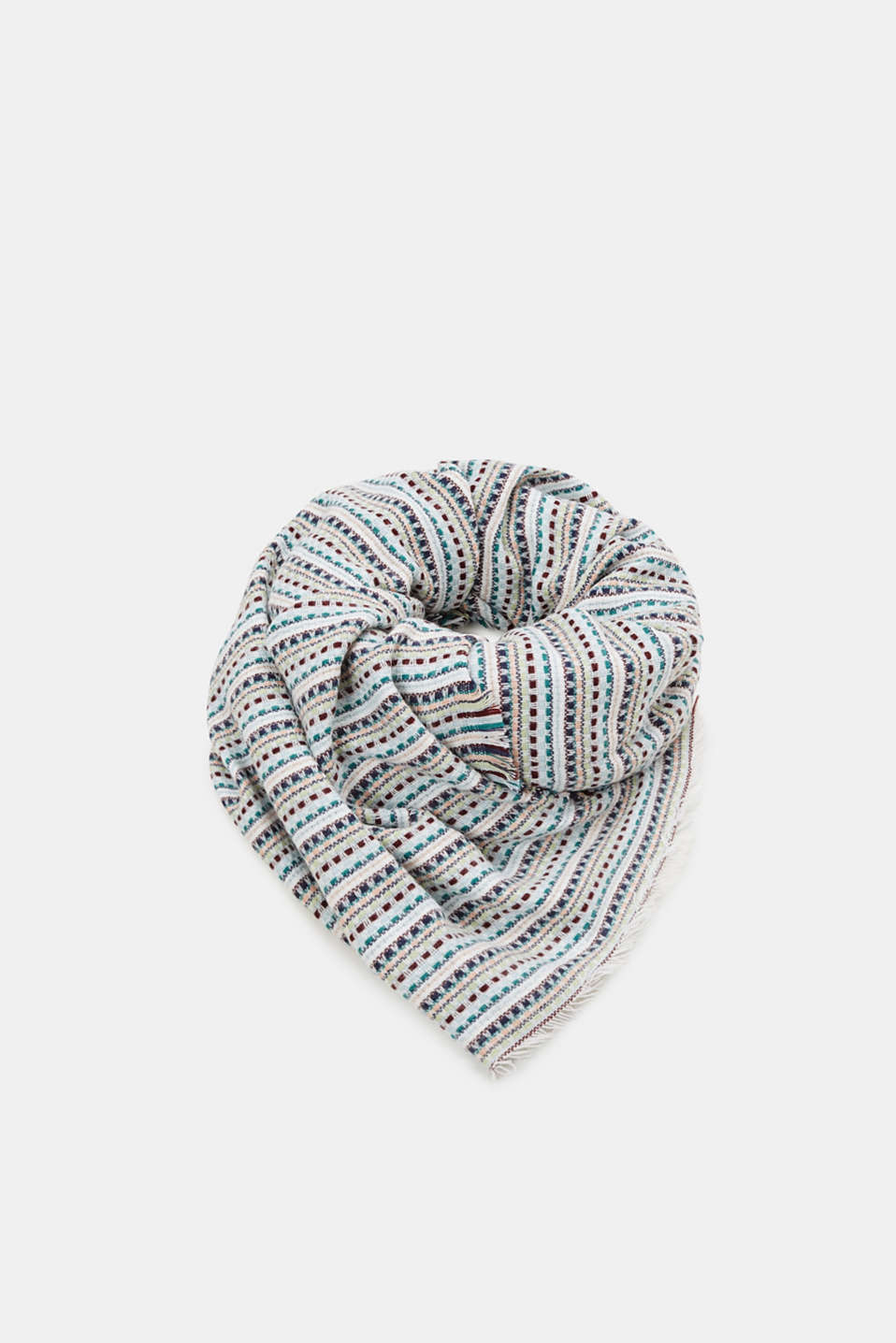 Woven scarf with stripes, AQUA GREEN, detail image number 0