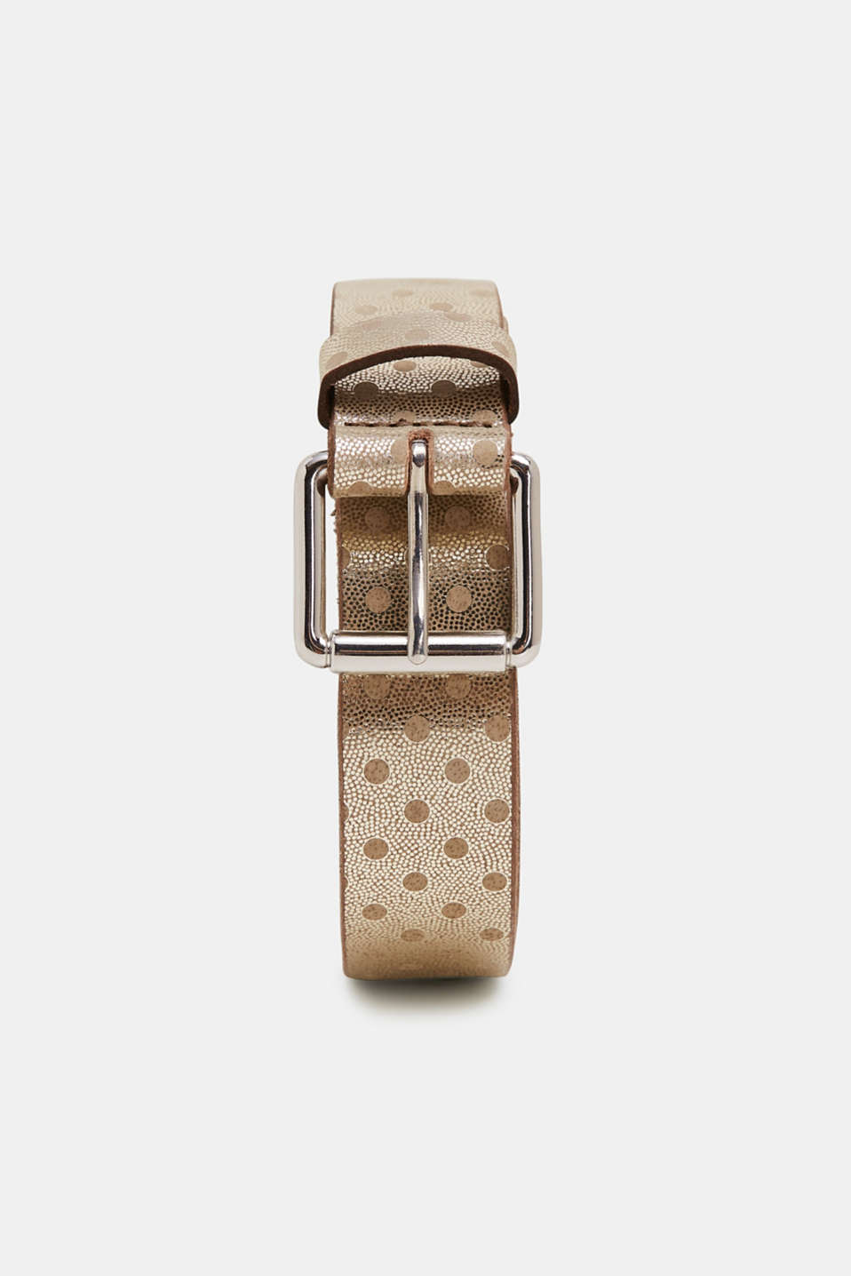 Esprit - Belt with metallic dots, made of leather