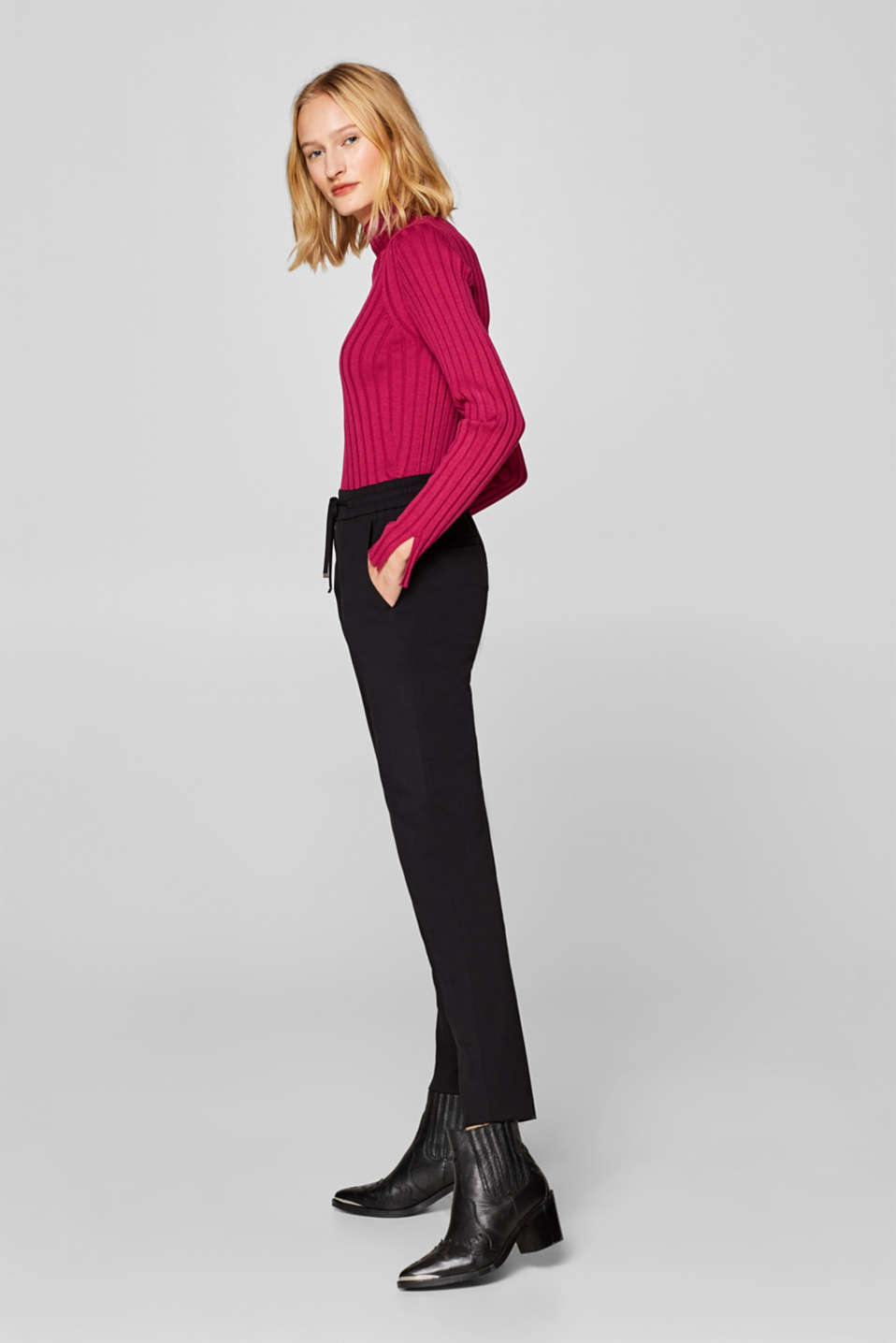 Esprit - Casual stretch trousers with elasticated waistband