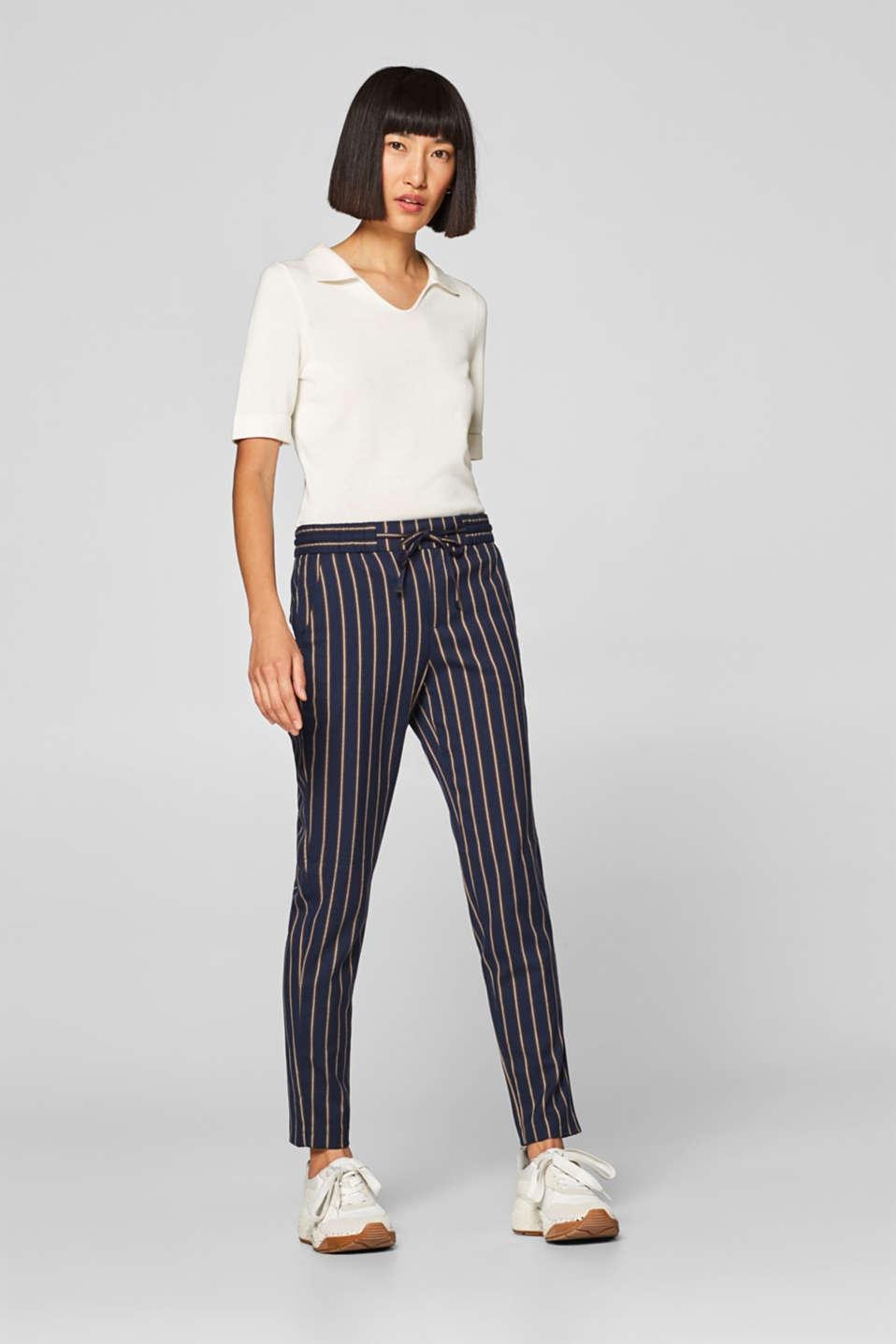 Esprit – Proužkované strečové kalhoty s pasem na gumu v našem on ... 1e488185c9