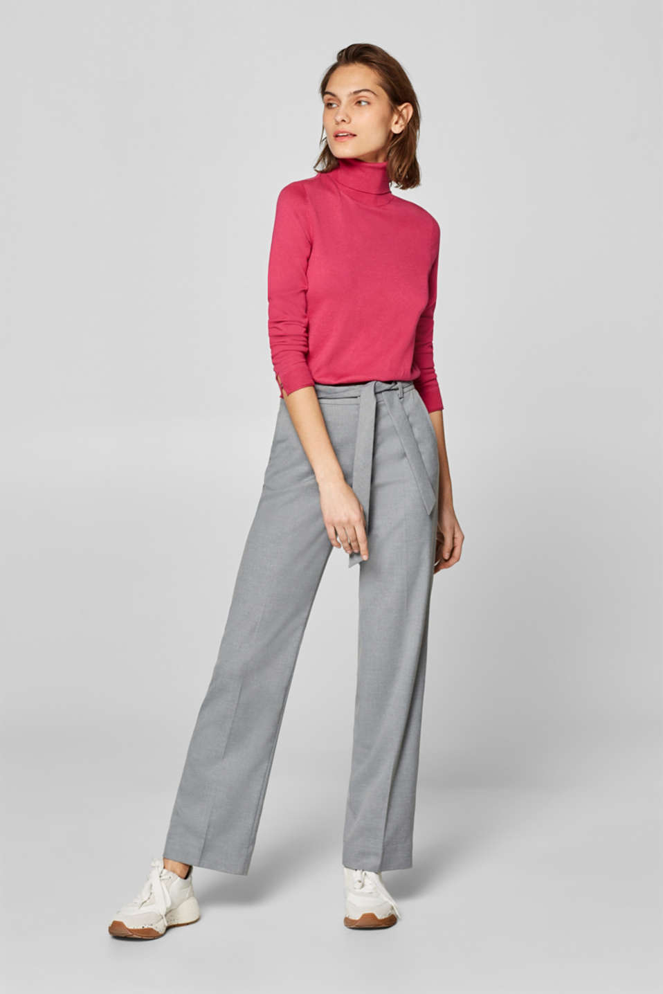 Esprit - Pantalon stretch chiné à jambes larges