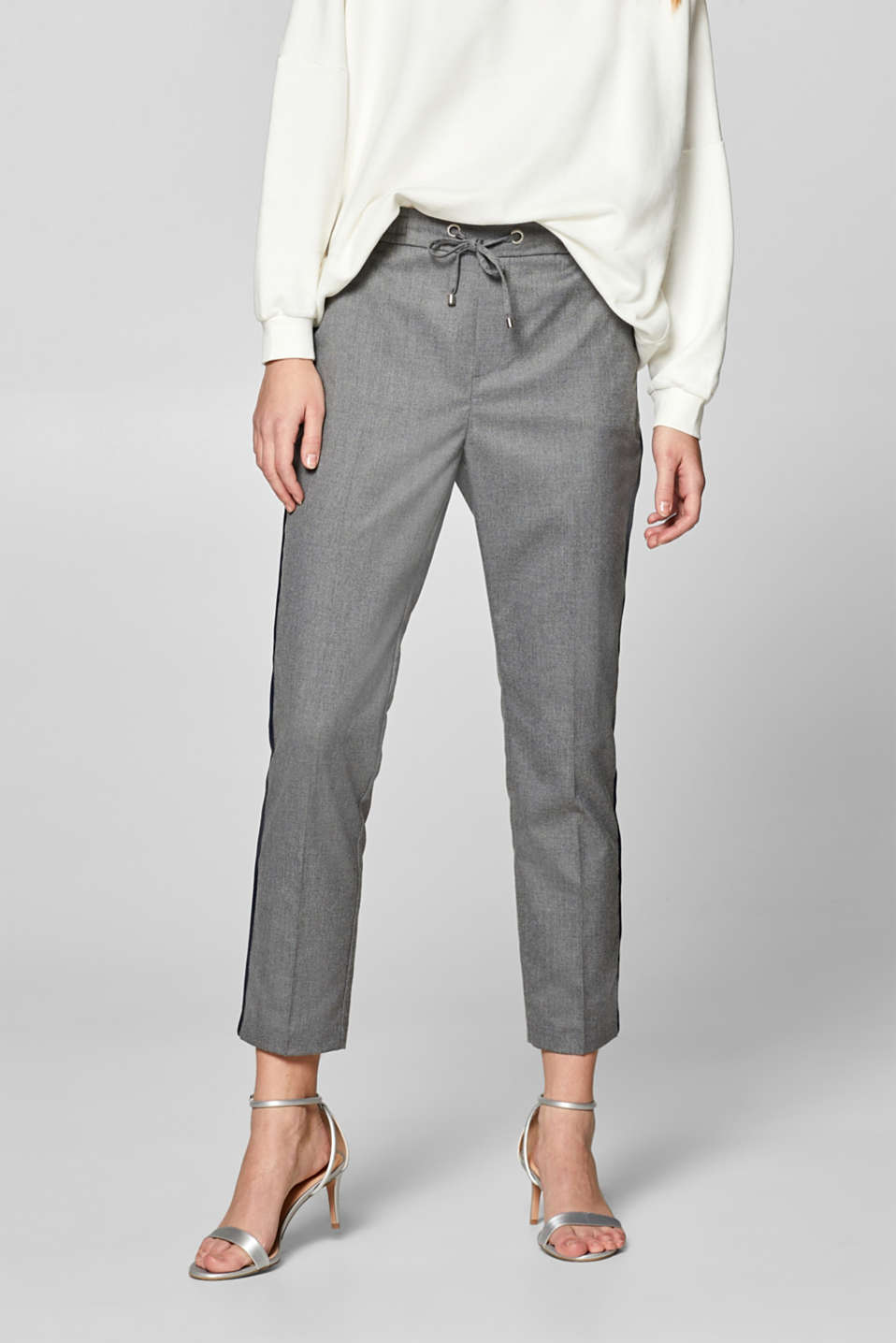 Esprit - GALON mix + match stretch trousers with an elasticated waistband