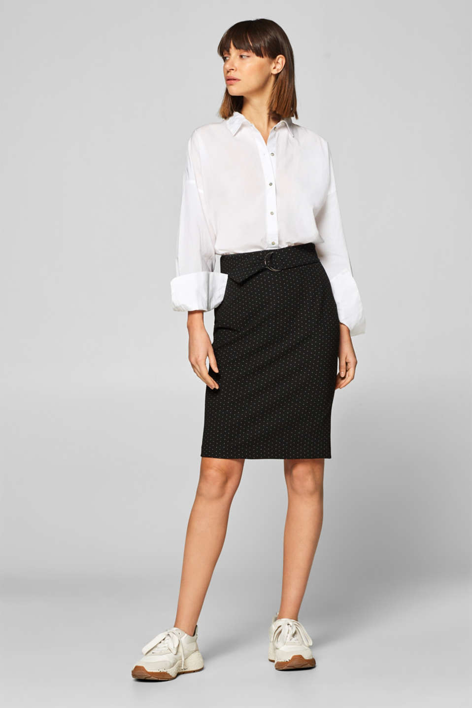 Esprit - Textured stretch jersey skirt with polka dots