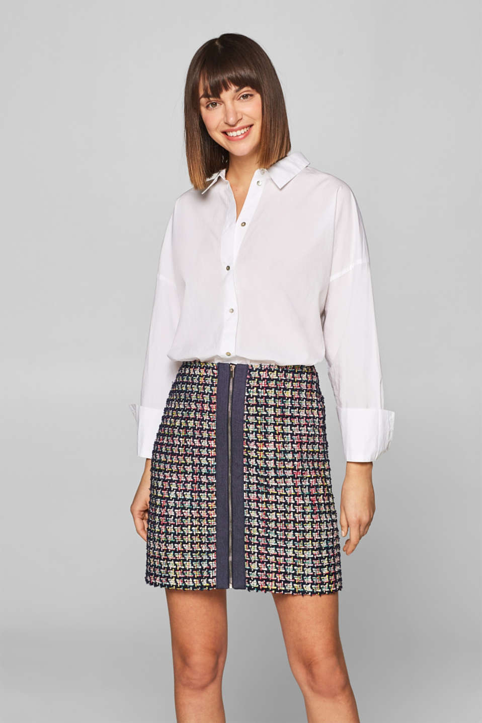 Esprit - Zip-up skirt in multi-colour bouclé