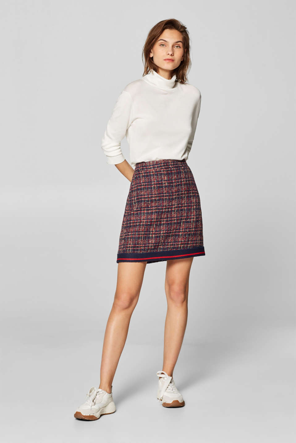 Esprit - Tweed skirt with a striped jersey hem