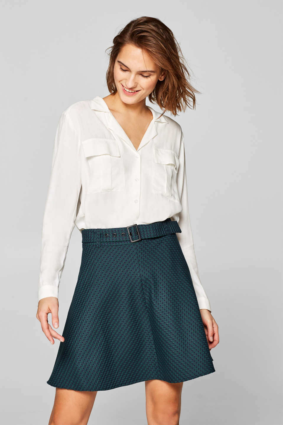 Esprit - Bell-shaped houndstooth skirt
