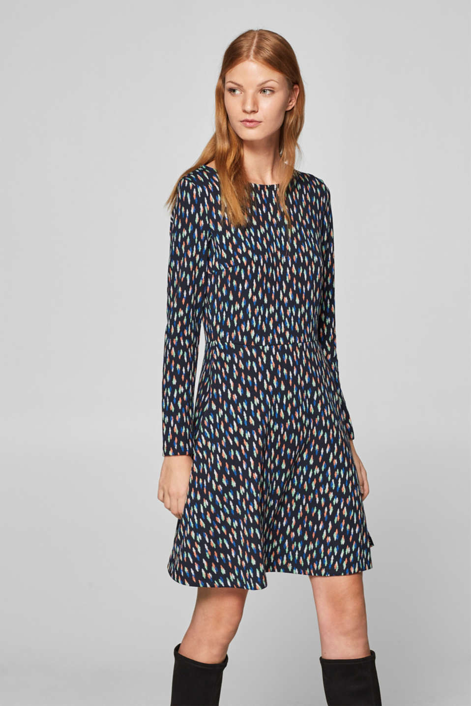 Esprit - Jacquard pattern jersey dress
