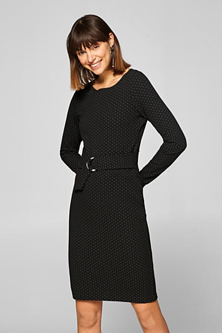 Textured jersey stretch dress with polka dots f20a6b0d2e