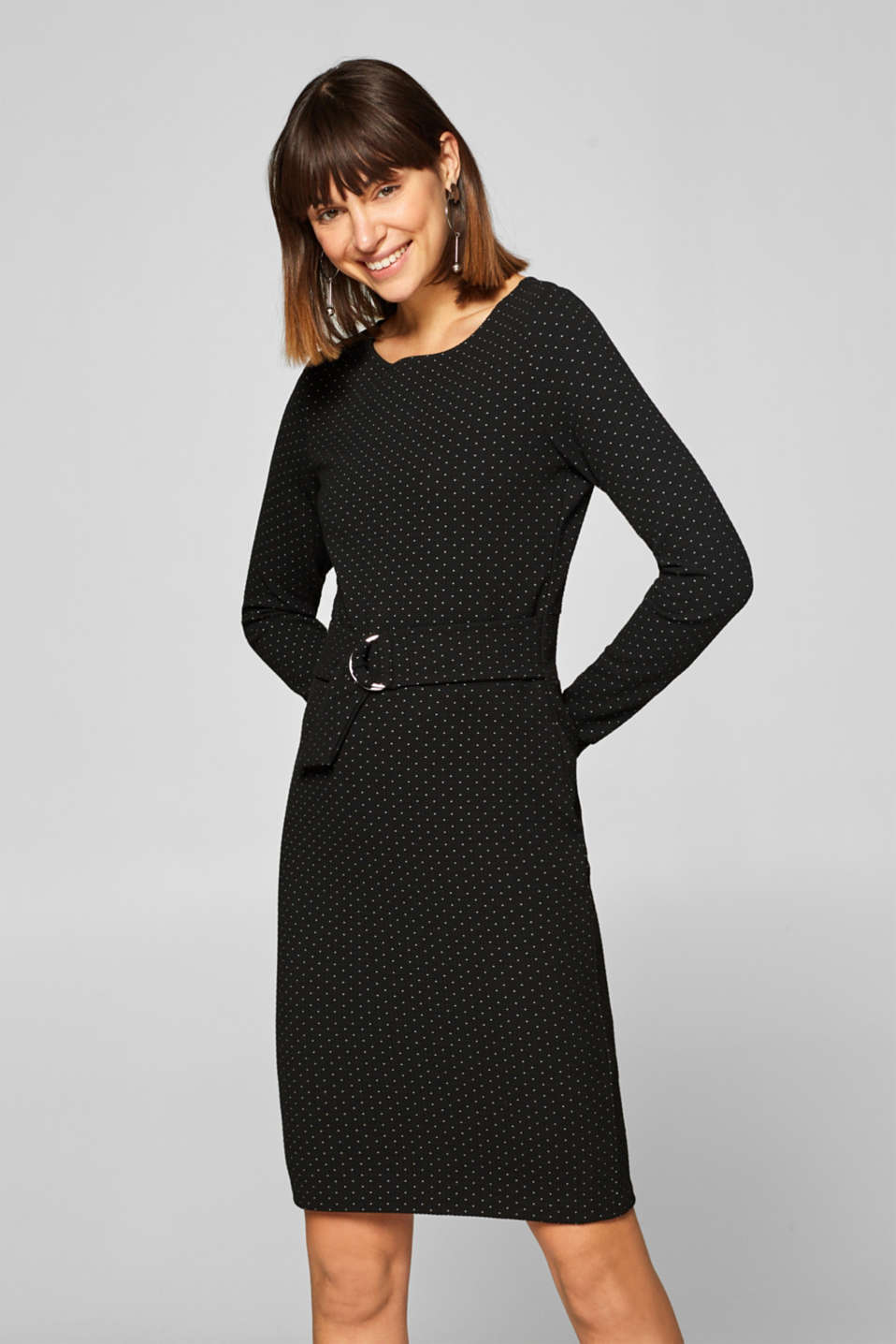 Esprit - Textured jersey stretch dress with polka dots