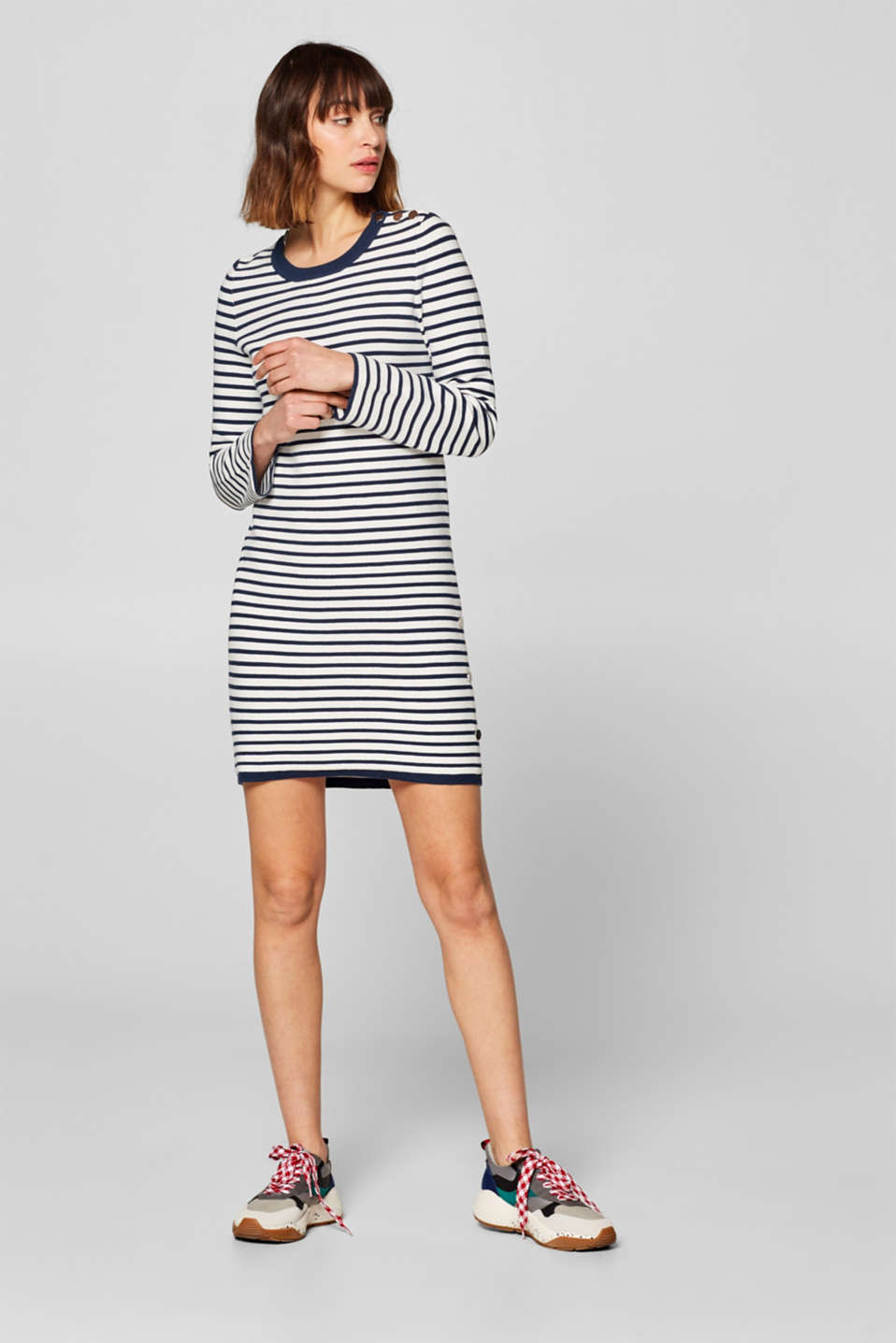 Esprit - With buttons: dress in textured jersey
