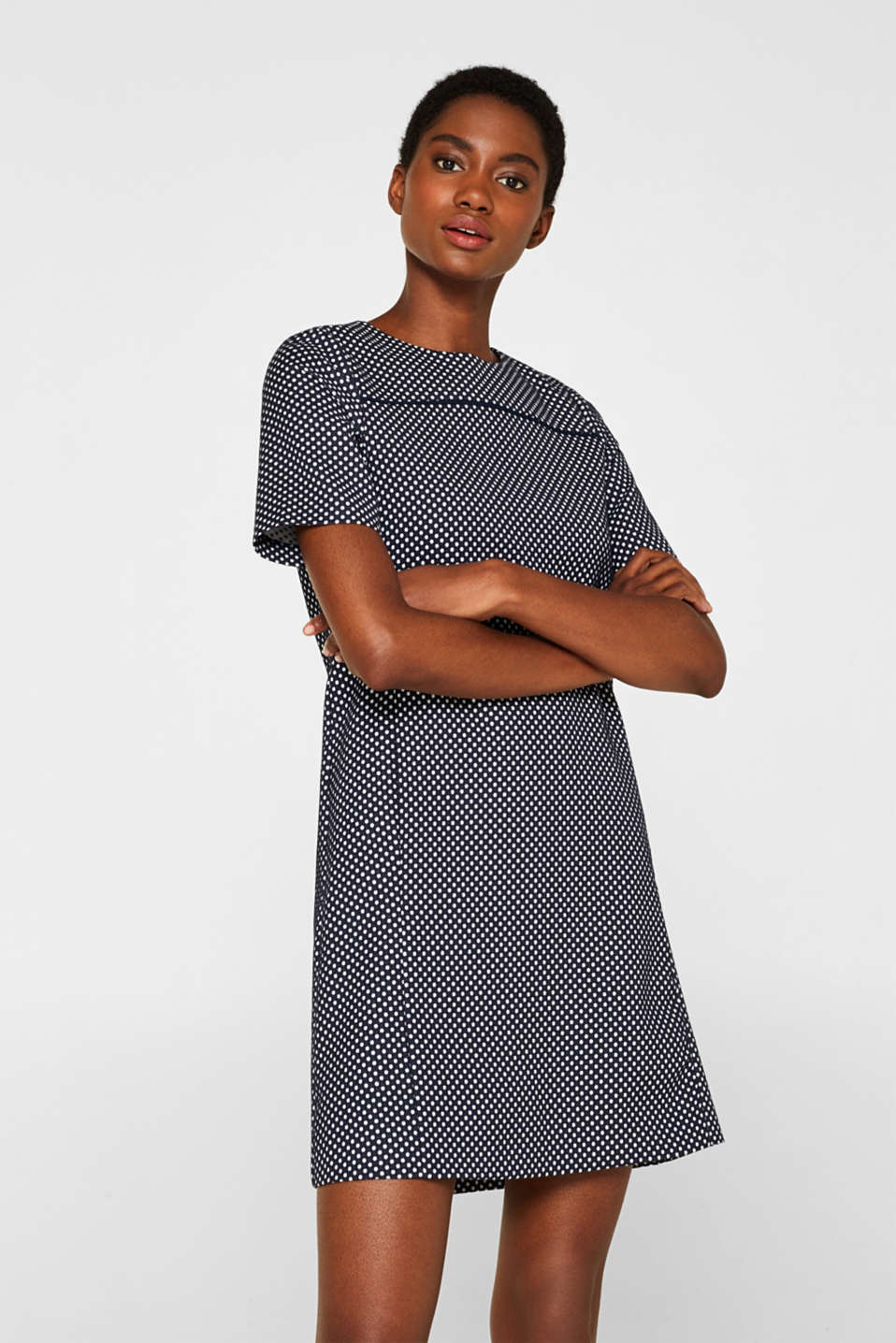 Esprit - Flared stretch jersey dress with polka dots