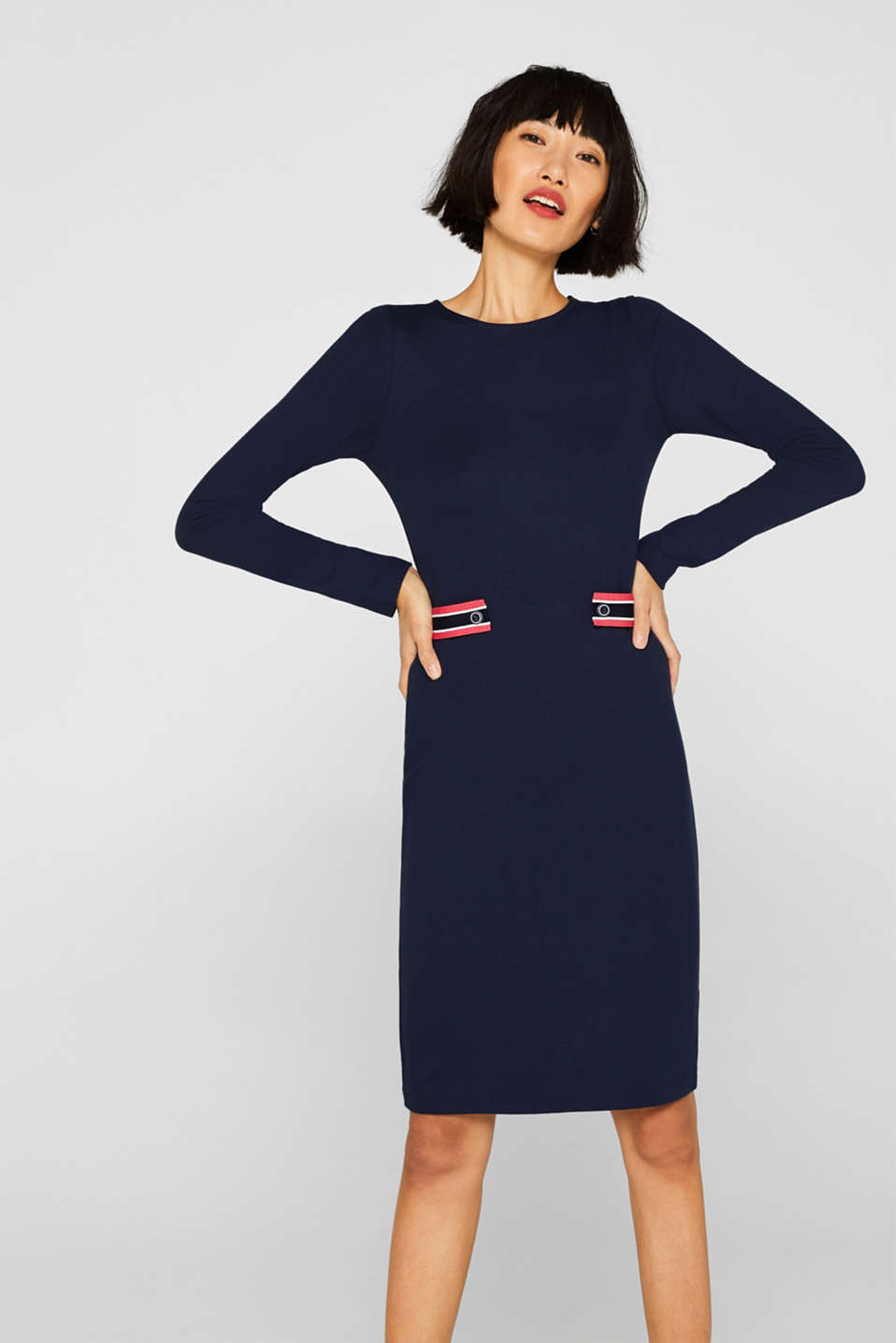 Esprit - Shift dress in stretch jersey with strap details