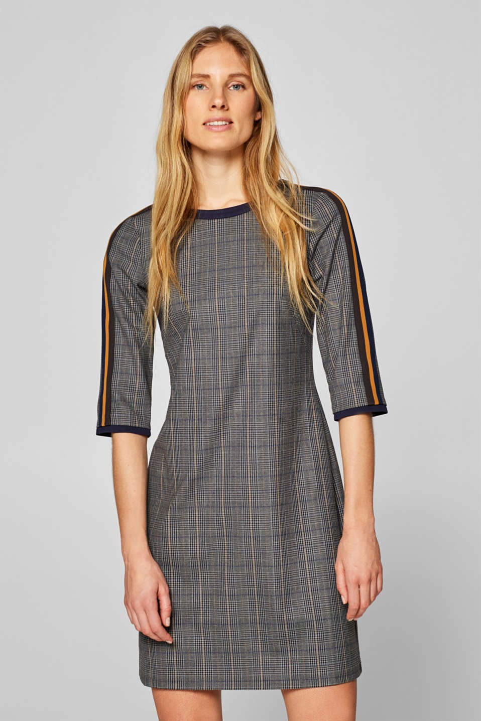 Esprit - Checked stretch dress with racing stripes