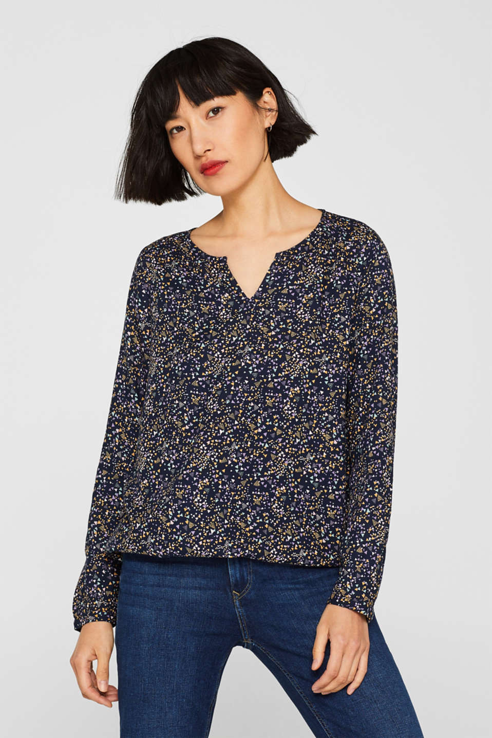 Esprit - Print blouse with a cup-shaped neckline