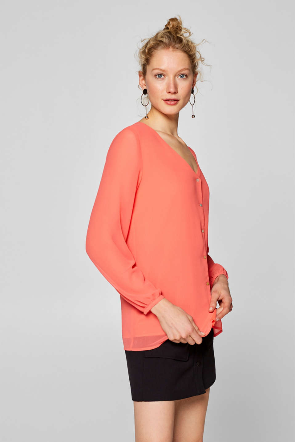 Esprit - Chiffon blouse with sheer sleeves