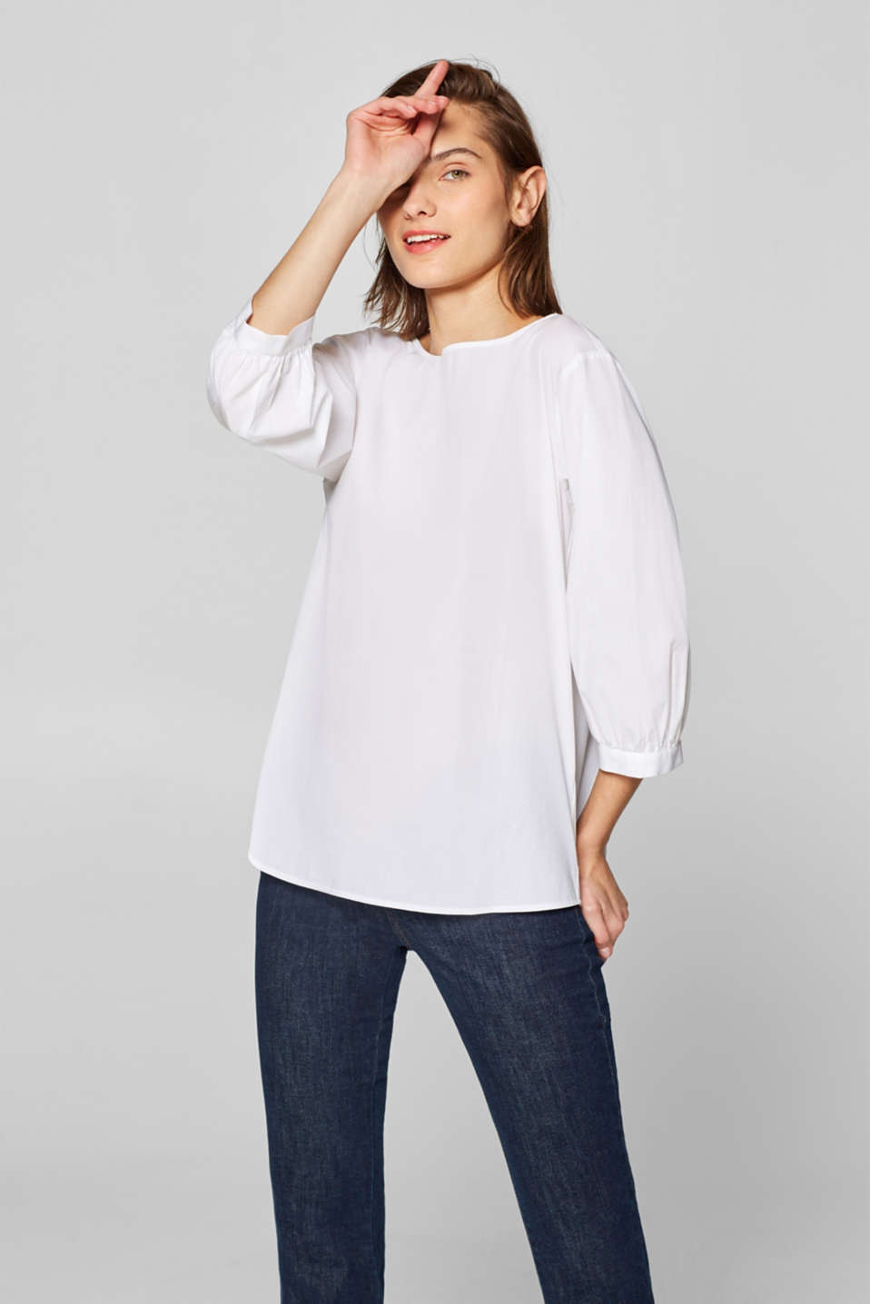 Esprit - Blouse with an three-quarter length sleeves, 100% cotton