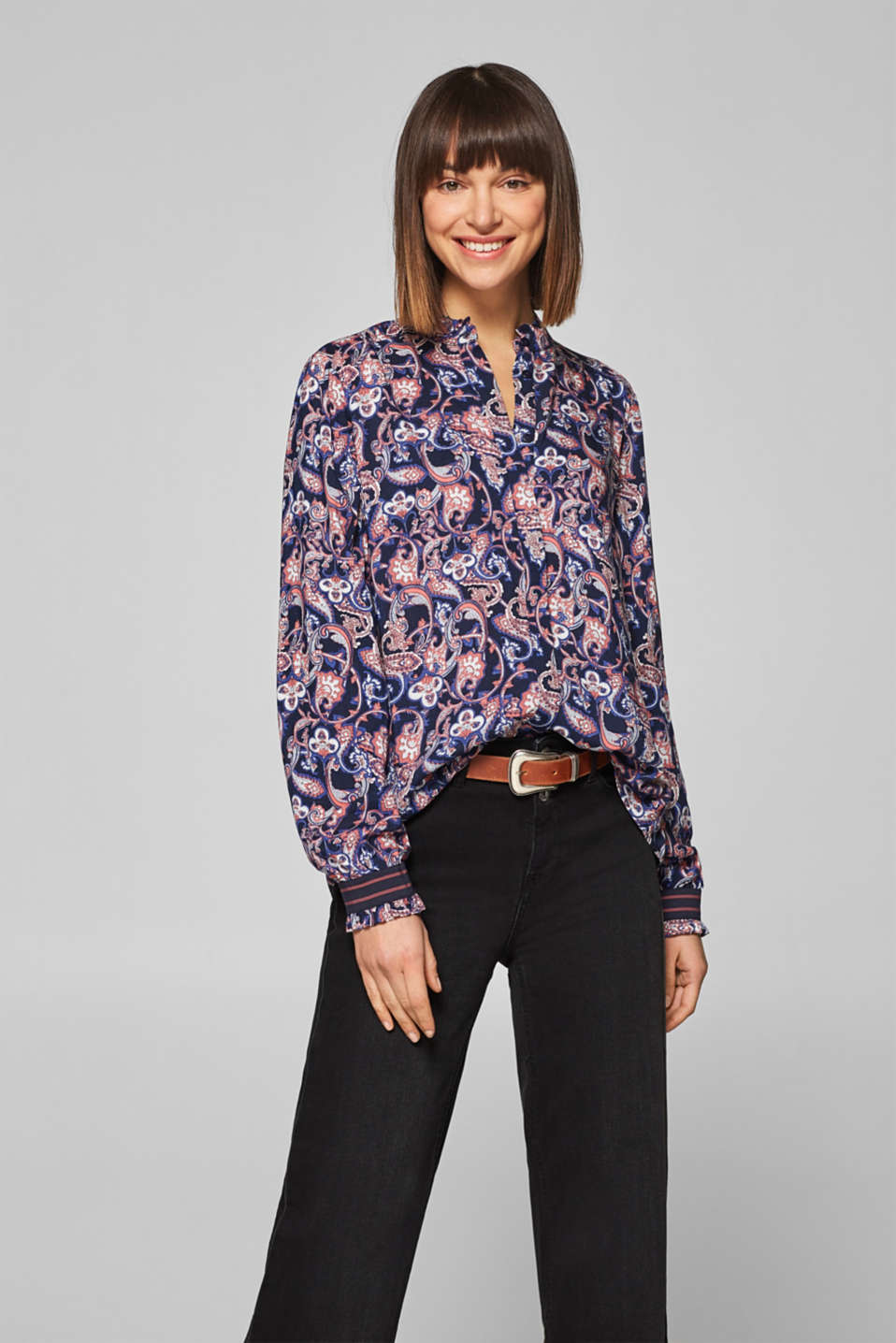 Esprit - Printed blouse with elasticated borders