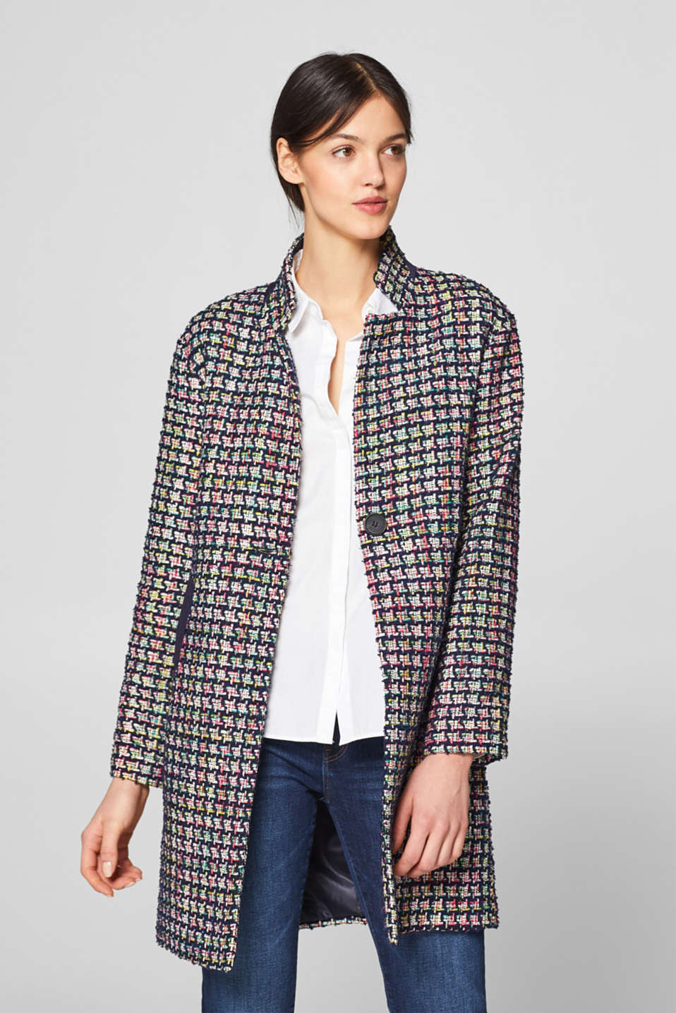 Esprit - Mantel aus Multicolor-Tweed mit Denim-Details