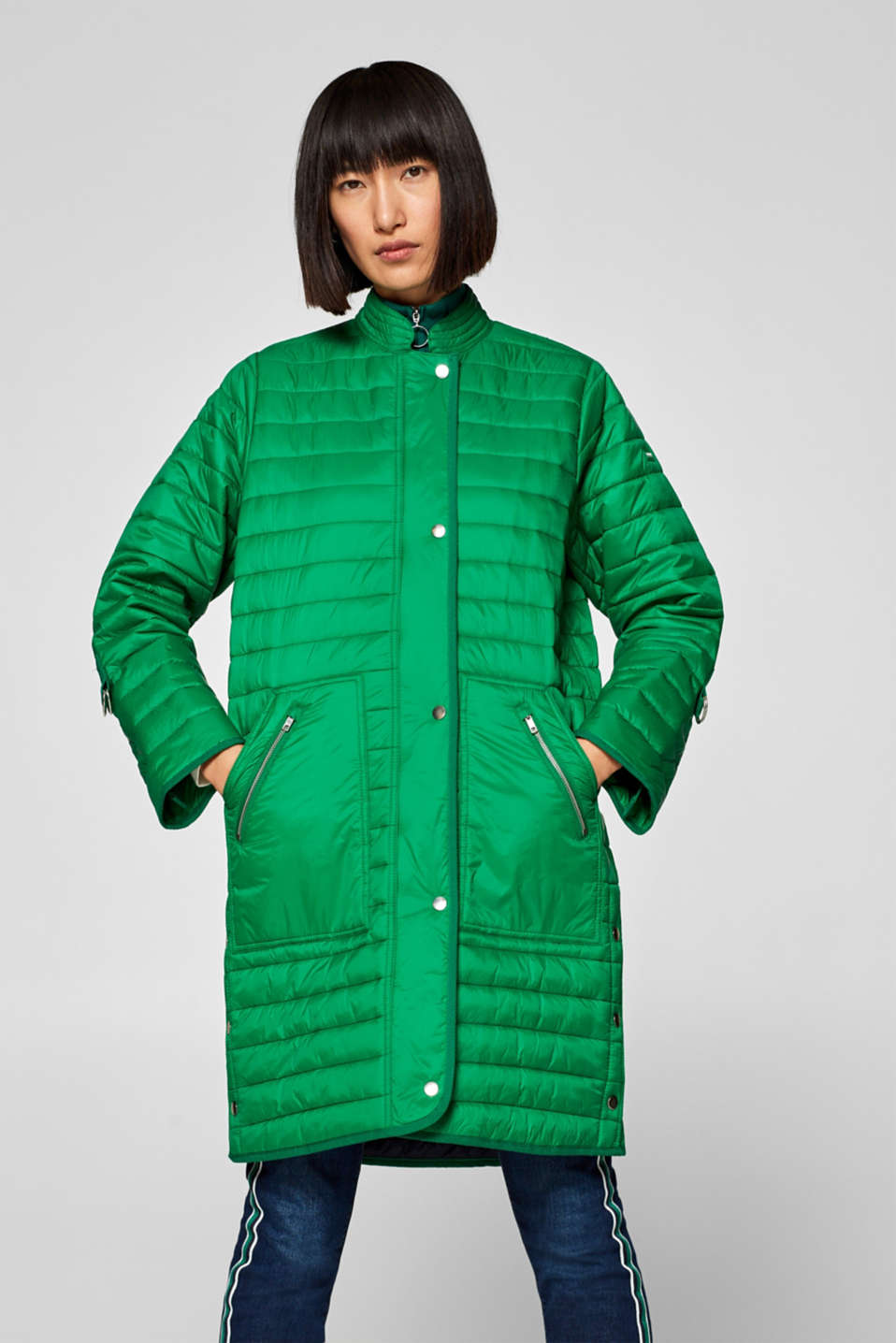 Esprit - Quilted coat with a striped trim and turn-up sleeves