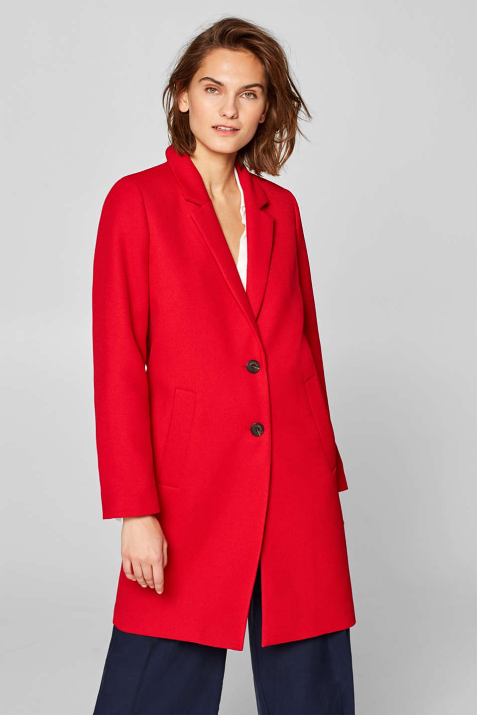 Esprit - Textured blazer coat with stretch