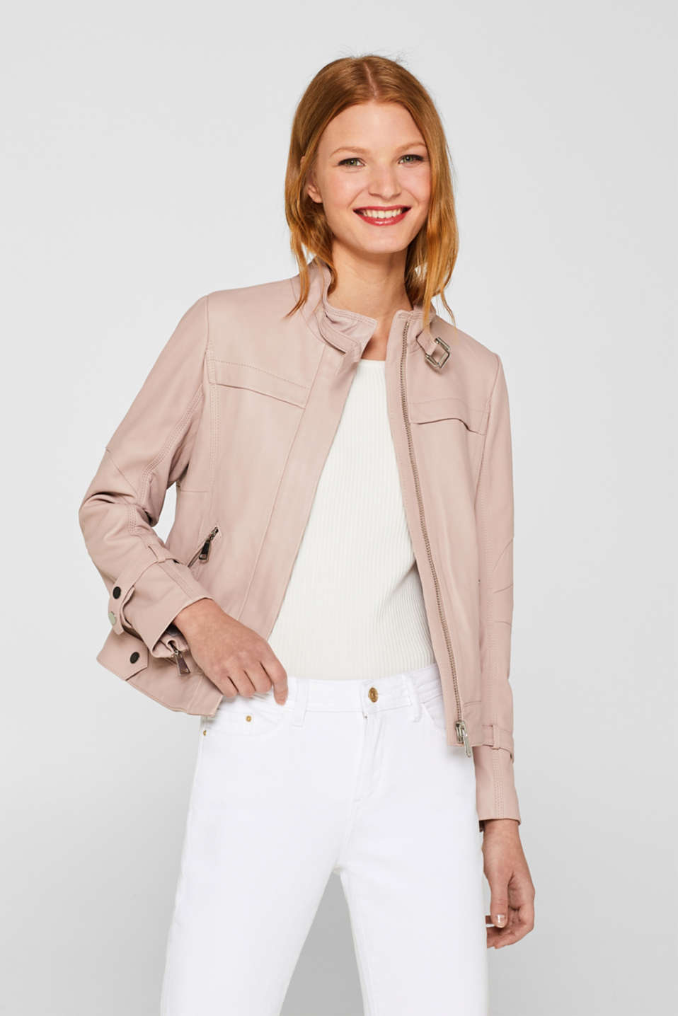 Esprit - Biker jacket in high-quality nappa leather