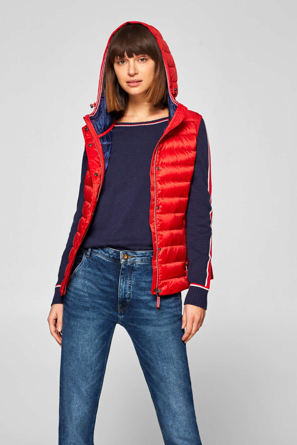 Esprit - Quilted body warmer with down/feather filling and a hood