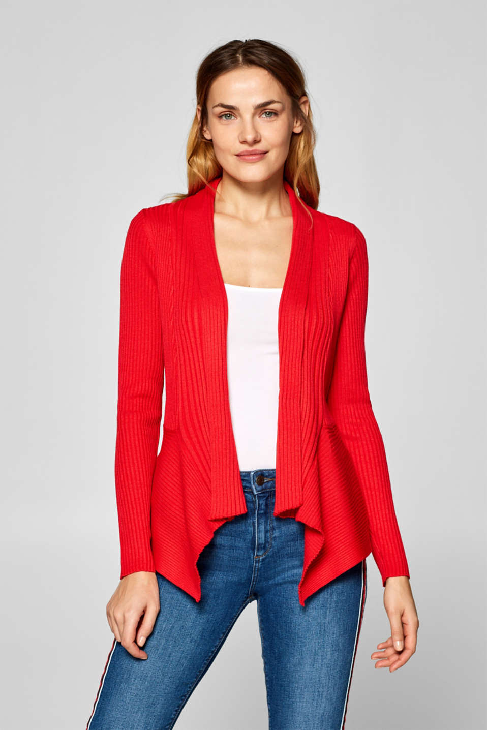 Esprit - Open cardigan in fine rib knit yarn
