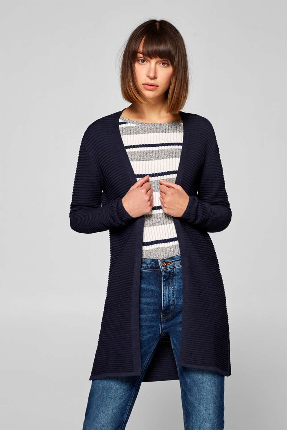 Esprit - Ribbet long-cardigan