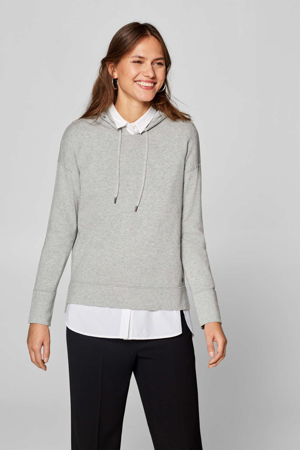 Esprit - Jersey hoodie in blended cotton