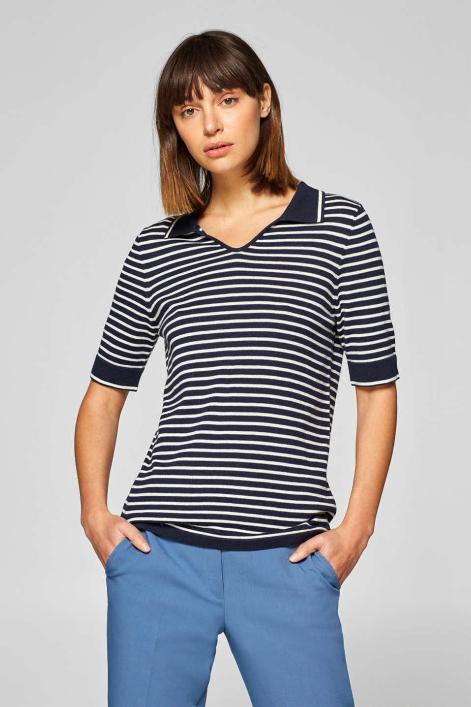 Esprit - Polo style short-sleeved jumper