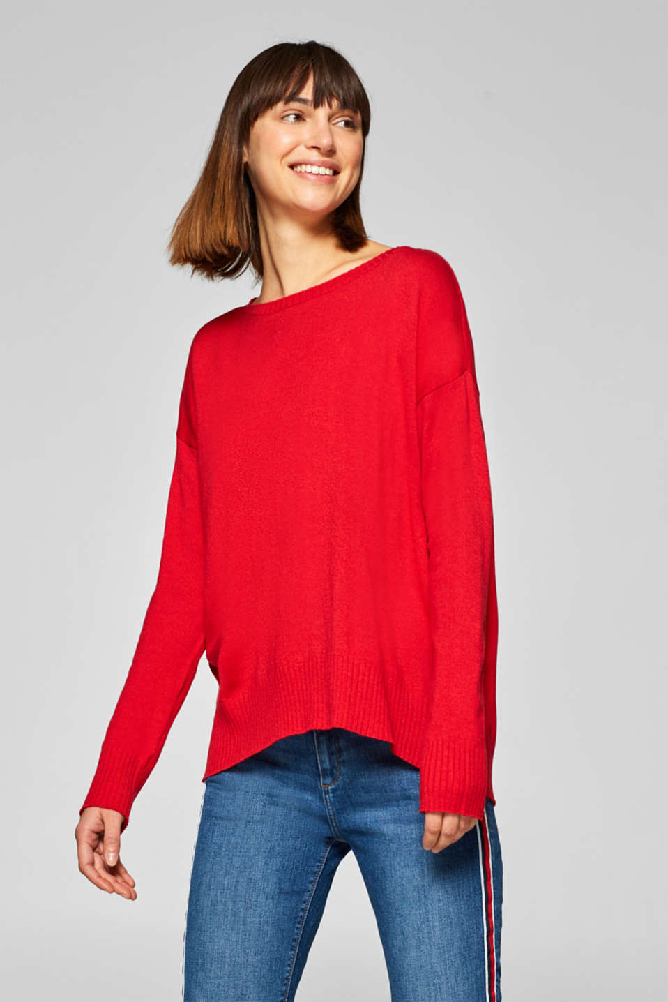 Esprit - Wool blend: oversized jumper with ribbed cuffs