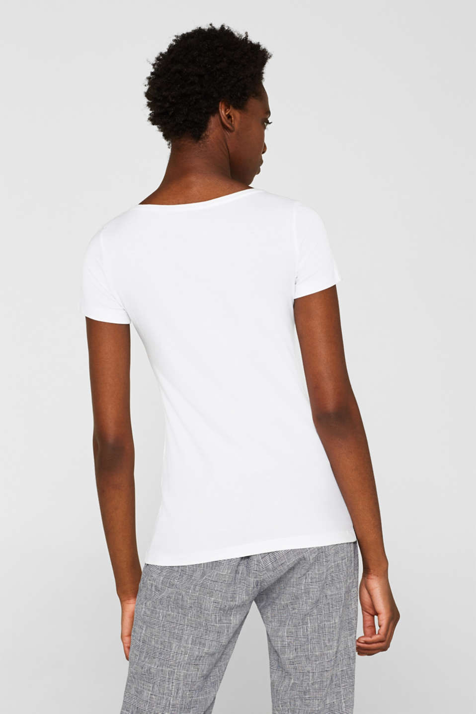 Basic top with organic cotton, WHITE, detail image number 3