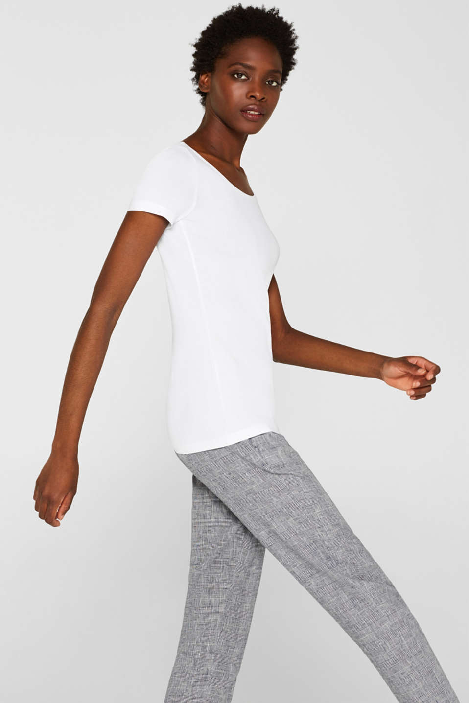 Basic top with organic cotton, WHITE, detail image number 5