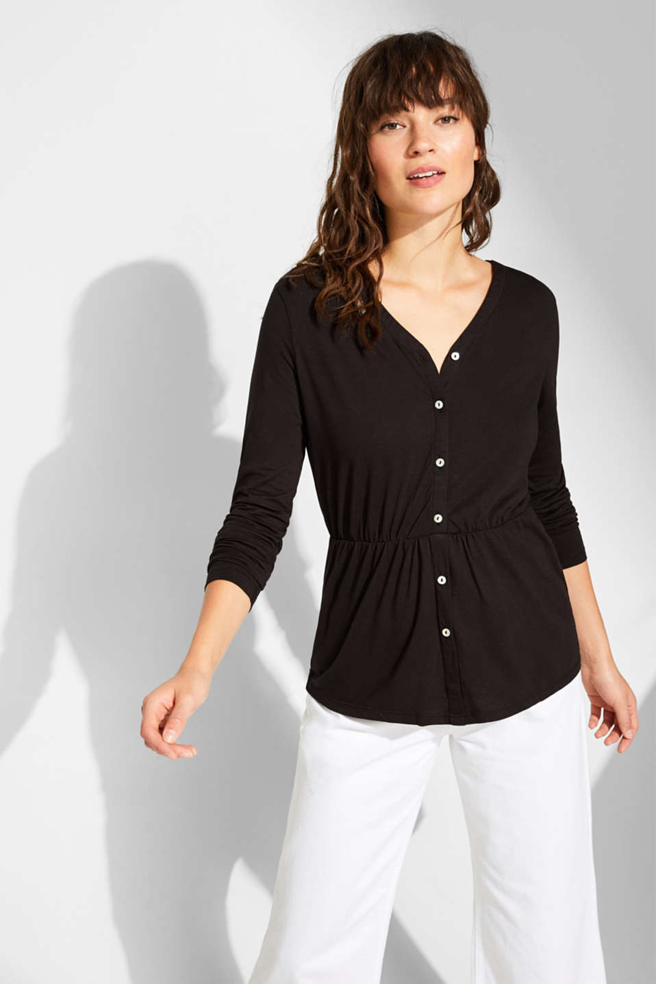 Esprit - Cardigan-style long sleeve top with button placket