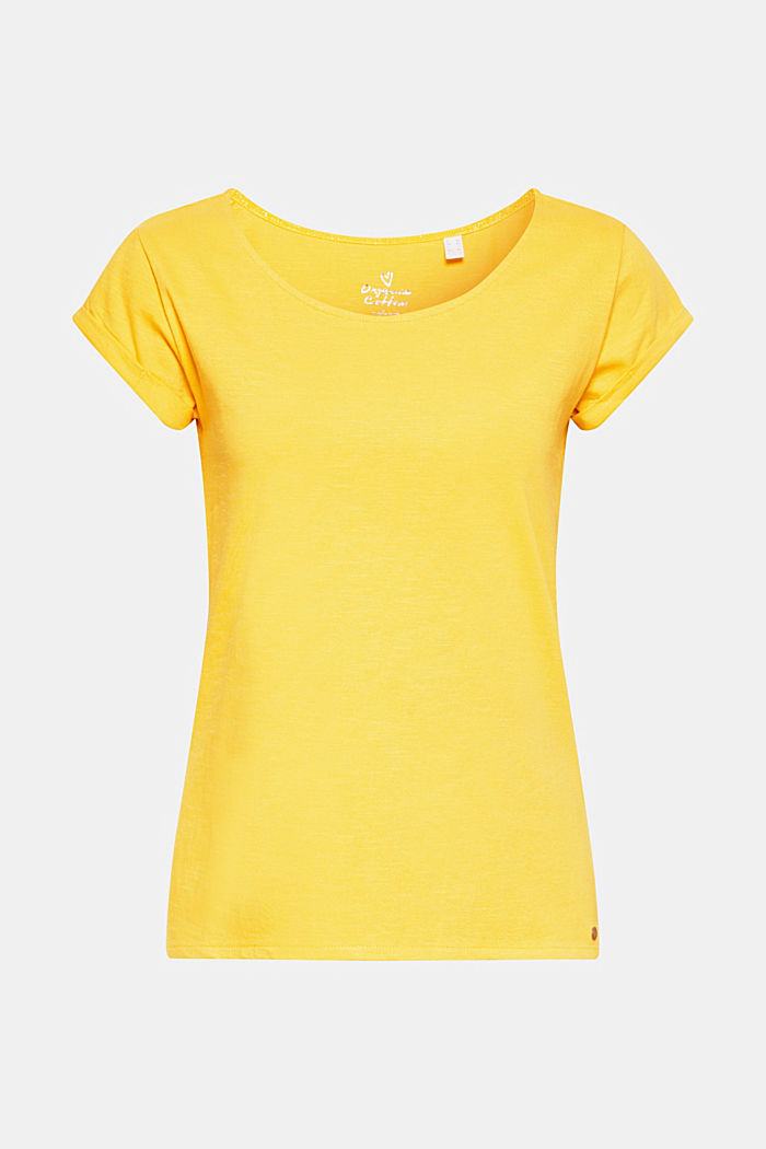 T-shirt con cotone biologico, 100% cotone, YELLOW 4, detail image number 0