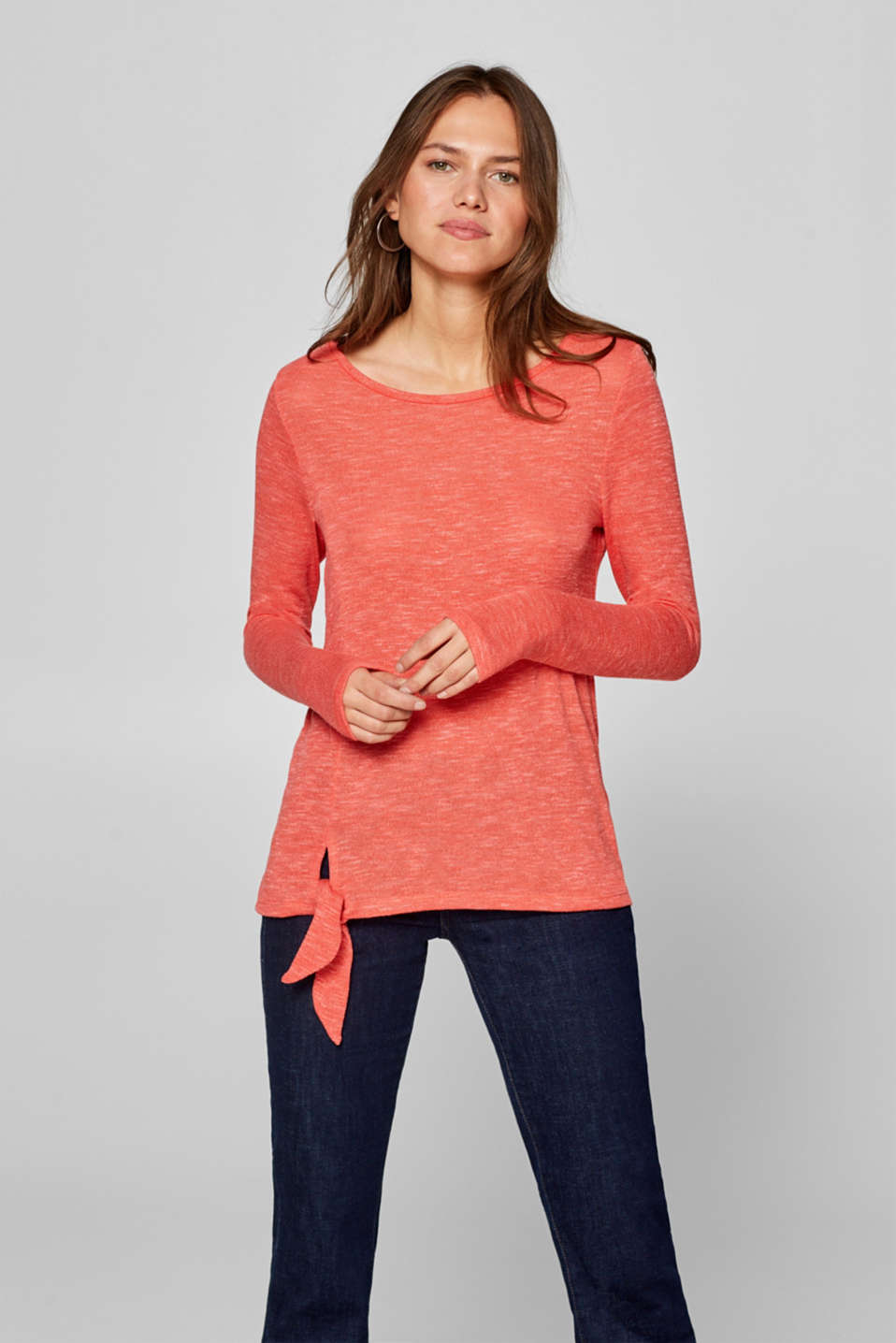 Esprit - Knot detail long sleeve top in melange jersey