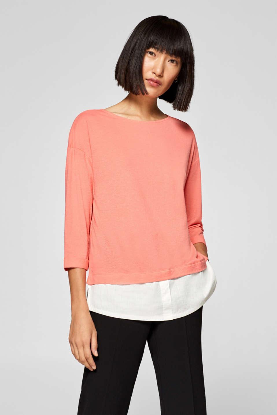 Esprit - Linen blend: layered top