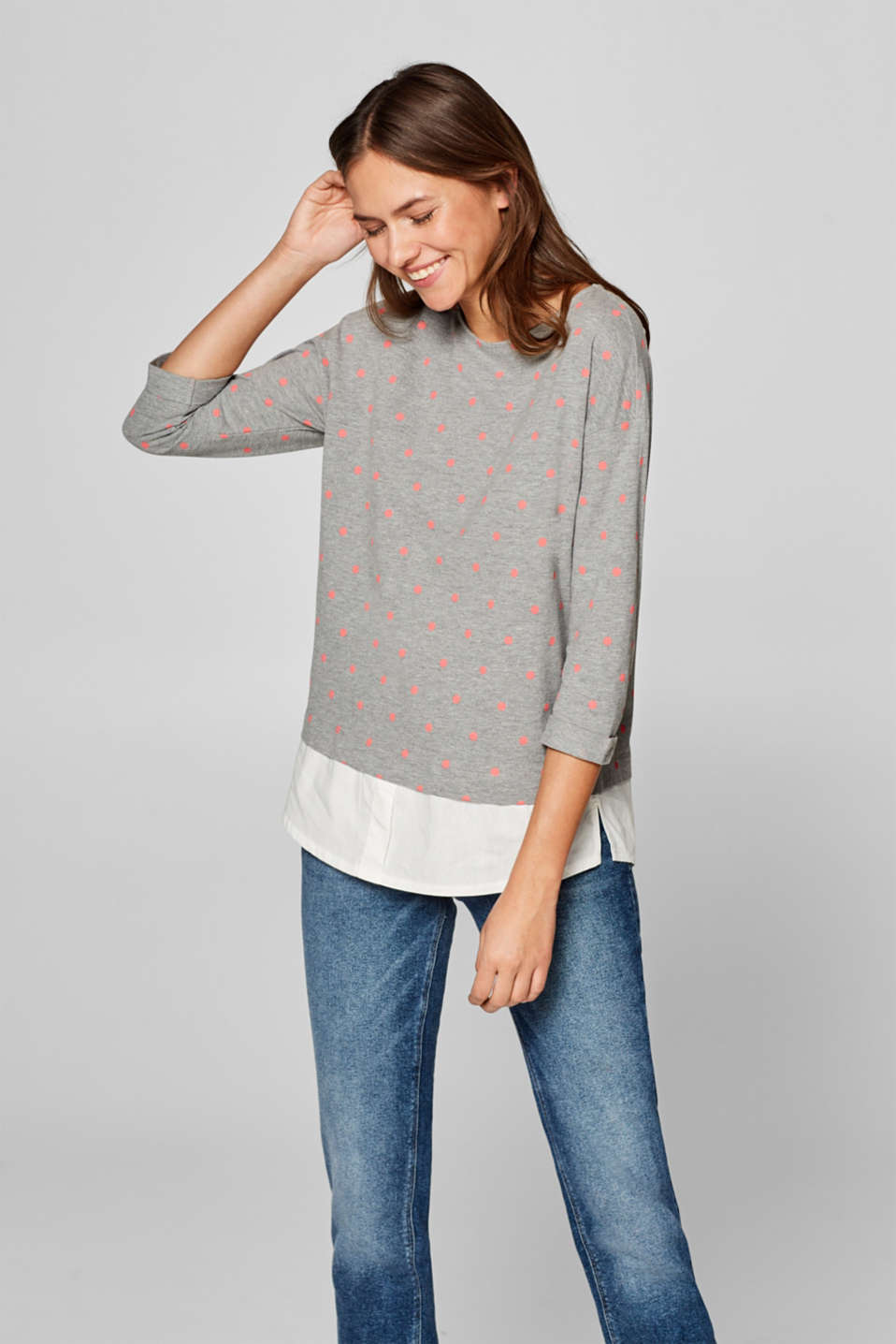 Esprit - Piqué top with print and layered hem
