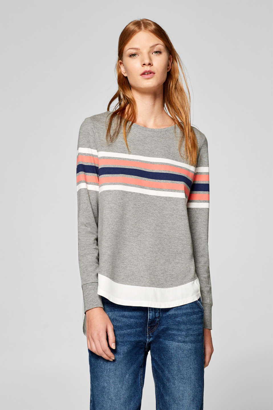 Esprit - Layered long sleeve top with stripes
