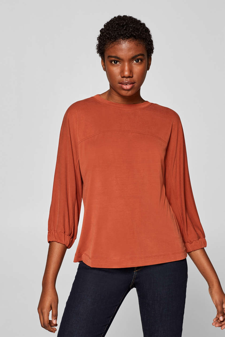Esprit - Boxy T-shirt with a peach skin texture