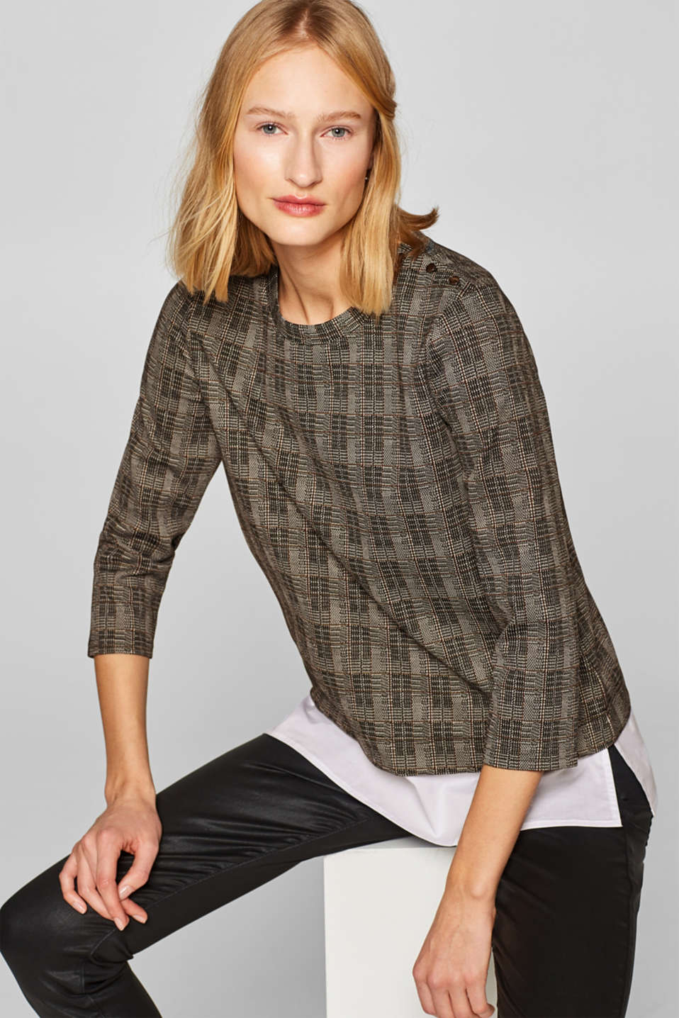 Esprit - Layered top with check pattern