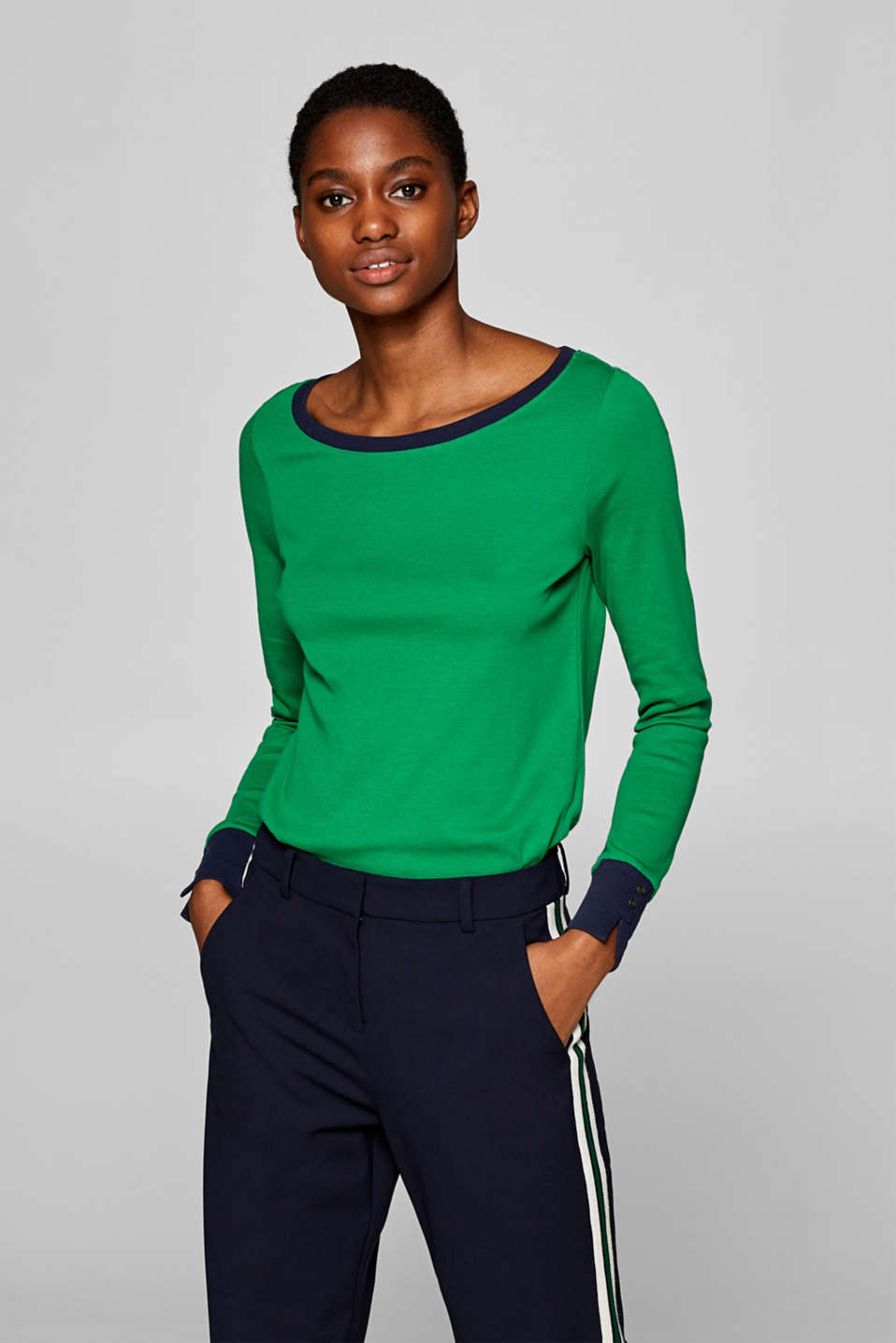Esprit - Long sleeve top with contrasts, 100% cotton
