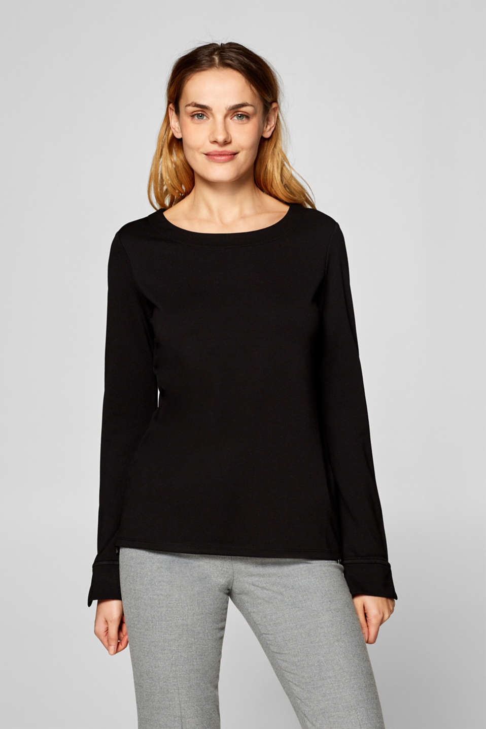 Esprit - Stretch long sleeve top with hem zips