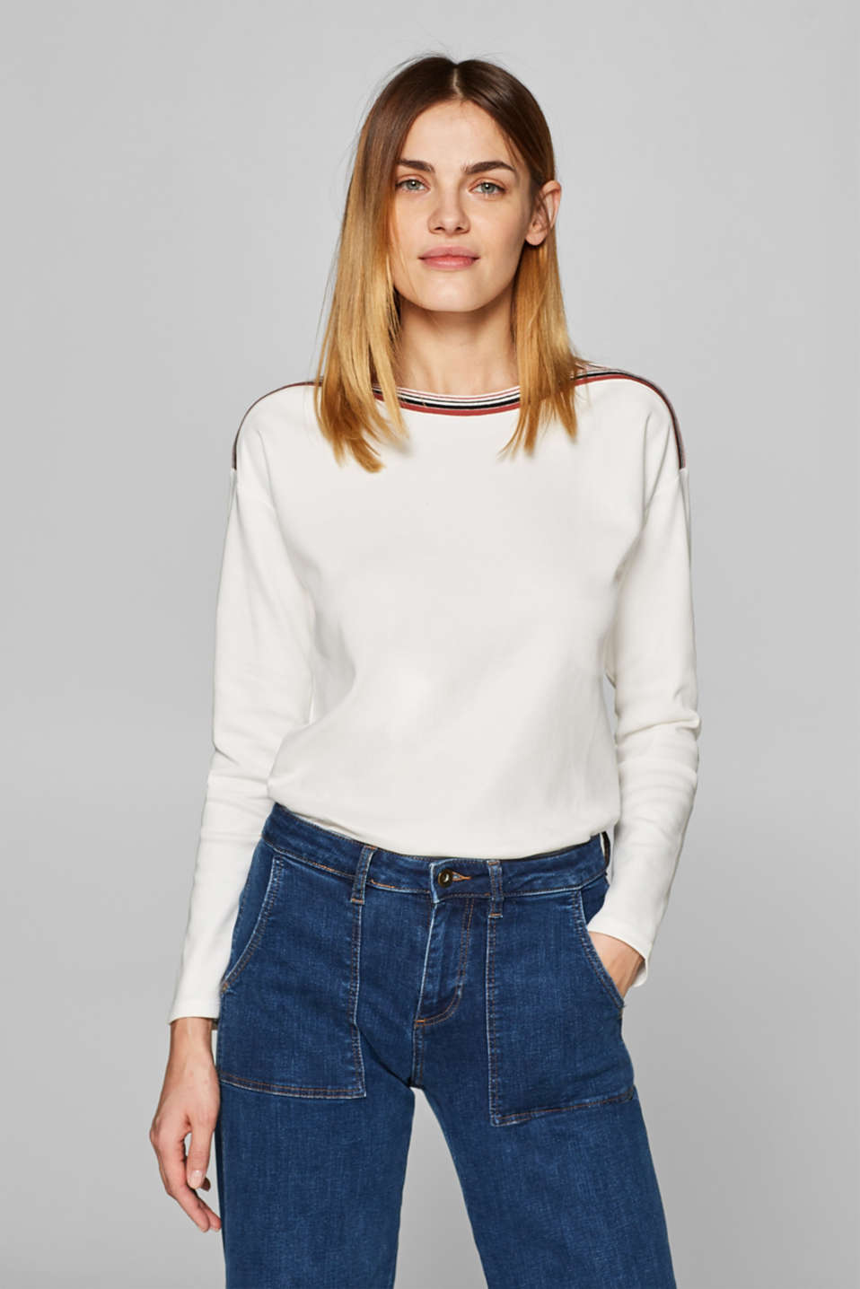 Esprit - Sweatshirt with woven tape 100% cotton