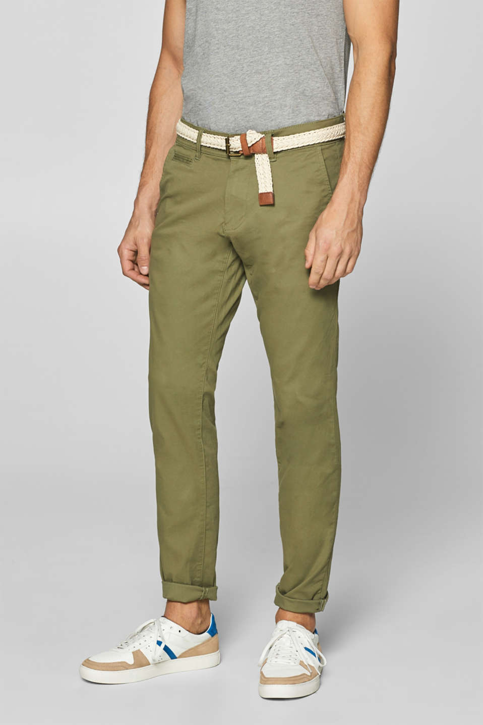 Esprit - Stretch cotton chinos with a belt