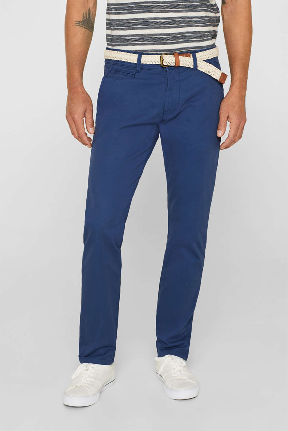 Esprit Stretch cotton chinos with a belt at our Online Shop