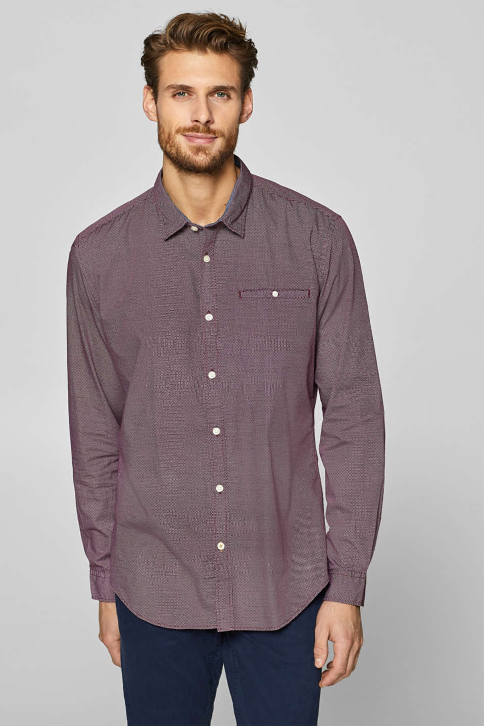 Esprit - All-over print shirt containing organic cotton