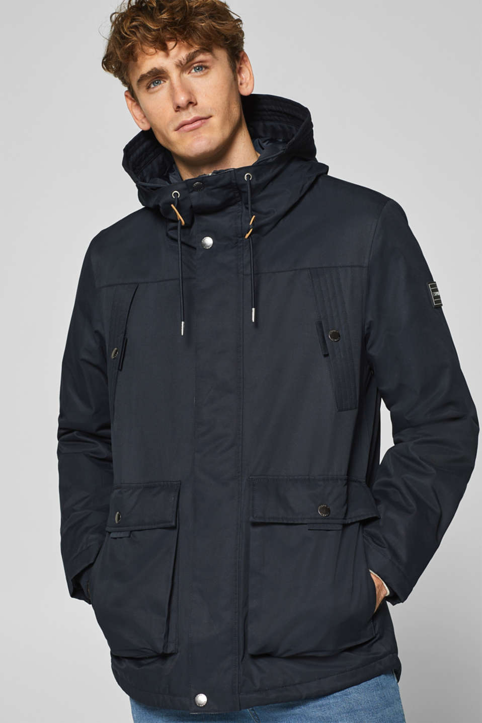 Esprit - Winter jacket with a hood in blended cotton